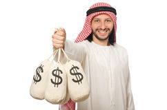 The arab businessman with sacks of money Stock Photo