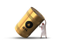The arab businessman supporting oil barrel Stock Images