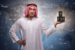 The arab businessman supporting oil price. Arab businessman supporting oil price Royalty Free Stock Photo