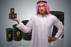 The arab businessman supporting oil price Royalty Free Stock Photo