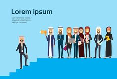 Arab businessman talking megaphone with business team, arabic group traditional clothes, career progression concept. Full length business agreement and vector illustration