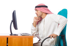 The arab businessman working on computer Royalty Free Stock Photo