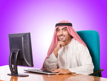 Arab businessman working on computer Royalty Free Stock Photos