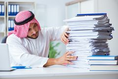 Arab businessman working in the office doing paperwork with a pi