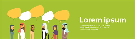 Arab Businesspeople Group Chat Bubble Communication Concept, Muslim Business People Talking Arabic Social Network, Copy Stock Images