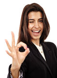Arab businesswoman with OK sign Royalty Free Stock Image