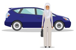 Arab businesswoman standing near the car on white background in flat style. Business concept. Detailed illustration of automobile Royalty Free Stock Images