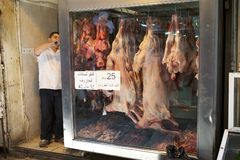 Arab butcher's shop Royalty Free Stock Photography