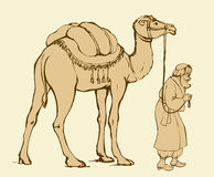Arab with camel laden. Vector drawing Royalty Free Stock Photo
