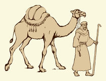 Arab with camel laden. Vector drawing Stock Images