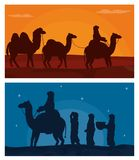 Arab with camels on desert. Vector illustration graphic design Royalty Free Stock Photography