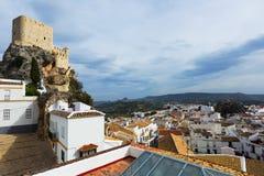 Arab castle at cliff.  Olvera Stock Photos
