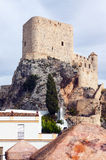 Arab castle at cliff over town in Olvera.   Cadiz Royalty Free Stock Image