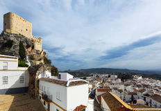 Arab castle at cliff over town in Olvera Royalty Free Stock Image
