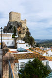 Arab castle at cliff over town in Olvera Stock Photo