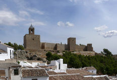 Arab castle over town roofs. Antequera, Andalusia. Stock Images