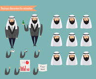 Arab character for scenes. Parts of body template for animation Stock Images