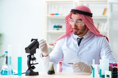 The arab chemist scientist testing quality of oil petrol. Arab chemist scientist testing quality of oil petrol royalty free stock photo