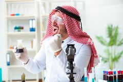 The arab chemist scientist testing quality of oil petrol. Arab chemist scientist testing quality of oil petrol royalty free stock photography