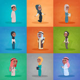 Arab Children Girls And Boys Set Small Cartoon Pupils Collection Muslim Students Stock Images