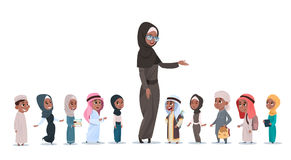 Arab Children Pupils With Female Teacher Muslim Schoolchildren Group. Flat Vector Illustration Stock Photos