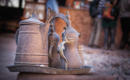 Arab Coffee Pots. Jordanian Bedouin Traditional Coffee Pots and Tray Stock Images