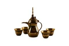 Arab coffee set. Traditional arab coffee set on white background Royalty Free Stock Photo