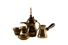 Arab coffee set. Traditional arab coffee set on white background Royalty Free Stock Photography