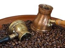 Arab copper coffee pots Stock Photo