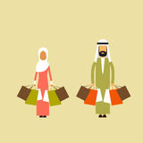 Arab Couple Muslim Man Woman Hold Shopping Bags Stock Photos