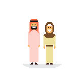 Arab Couple People Man and Woman Traditional Clothes. Arabic Characters Flat Vector Illustration Royalty Free Stock Image
