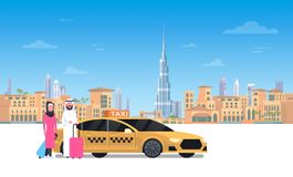 Arab Couple Sitting In Yellow Taxi Car Over Dubai City Background. Flat Vector Illustration Stock Photo