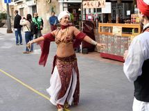 Medieval Market in Cartagena. Arab dancer - Historical festival of three cultures - Arabic, Jewish and Christian - Medieval Market in Cartagena. Spain. Region stock photo