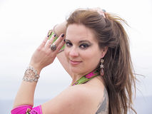 Arab dancer portrait with jewelry Royalty Free Stock Images