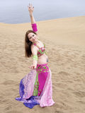 Arab dancing at deset seaside Stock Image