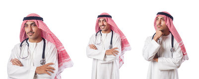 The arab doctor with stethoscope on white Royalty Free Stock Image