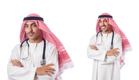 The arab doctor with stethoscope on white Stock Photos