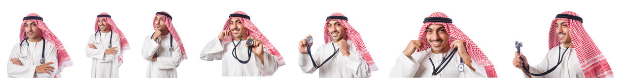 The arab doctor with stethoscope on white Stock Images