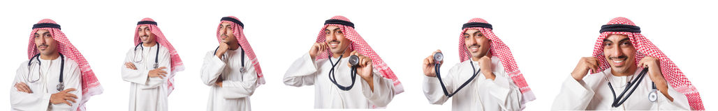The arab doctor with stethoscope on white Stock Photo