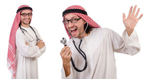 The arab doctor with stethoscope on white Stock Photography