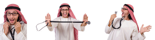 The arab doctor with stethoscope on white Royalty Free Stock Photos