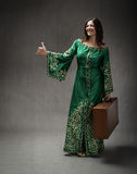 Arab dress for girl made autostop Royalty Free Stock Image