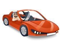 Arab Driver Riding Road Retro Cartoon Sport Car Speed Transport Isolated Icon Vector Illustration Stock Photography