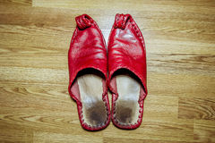 Arab Eastern  leather Slippers are on the floor Royalty Free Stock Photos