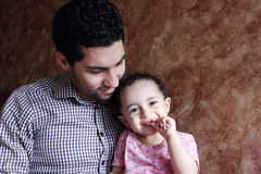 Arab egyptian man or father with his baby girl Royalty Free Stock Images