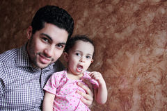 Arab egyptian man or father with his baby girl Stock Image