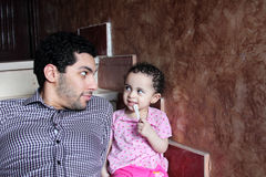 Arab egyptian man with his baby girl Stock Photography
