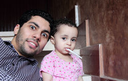 Arab egyptian man with his baby girl Stock Image