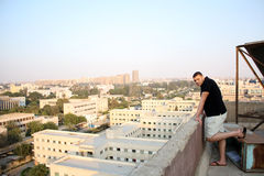 Arab egyptian young businessman from house roof Stock Images