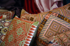 Arab Embroidered Pillows. Arabic handmade silk Bedouin pillows Royalty Free Stock Images